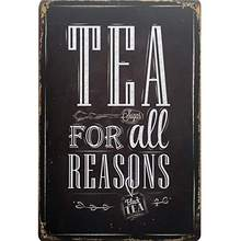 Tea for All Seasons Vintage Tin Tea Plates Letter Board Sign Metal Decor Poster Plate Black Wall Plaques Art 20x30cm(China)