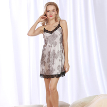 New women's clothing sleep Fashion dress sleepwear Satin Print nightwear Sexy lace Spaghetti Strap night dress spaghetti strap satin wrap dress