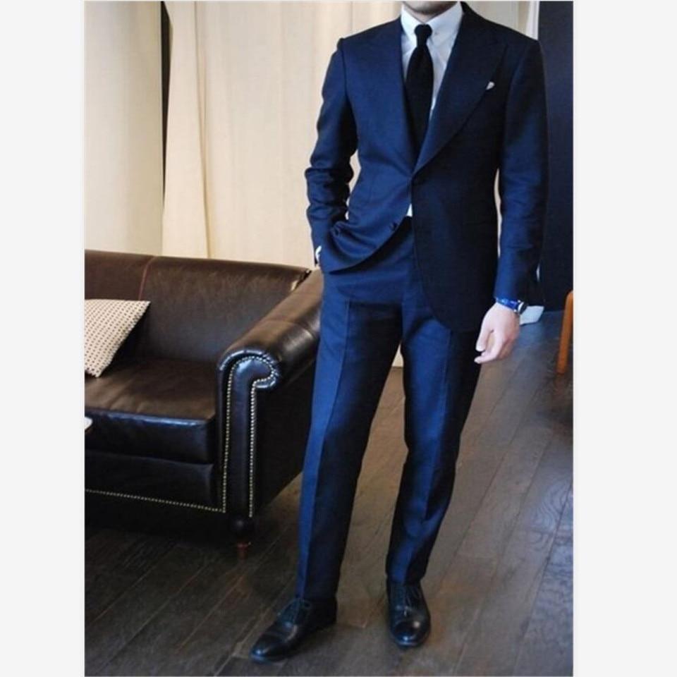 New Men's Suit Smolking Noivo Terno Slim Fit Easculino Evening Suits For Men Navy Blue Tuxedos Party Bridegroom Groomsman(Jacket