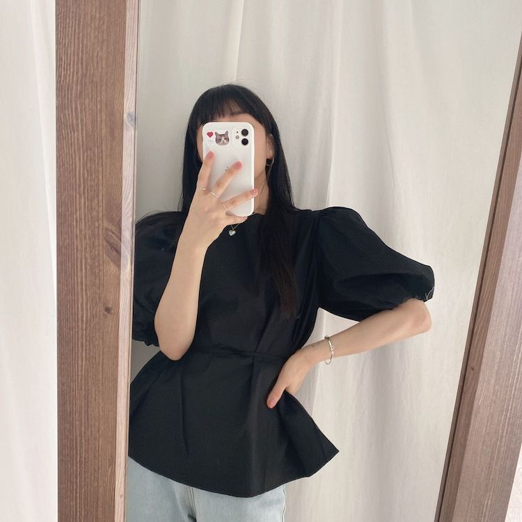 He3abf783f2e4406aabe785162a791a8dS - Summer O-Neck Short Puff Sleeves Cotton Lace-Up Solid Blouse