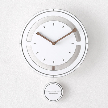 Nordic Wooden Wall Clock Modern Design 3D Decoration Hanging Pendulum Clock Wall Watch with Swing Home Decor 12 inch