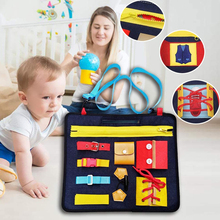 32*28cm Toddlers Busy Felt Board Baby Toys Montessori Basic Skills Activity Board Educational Toy For Toddler