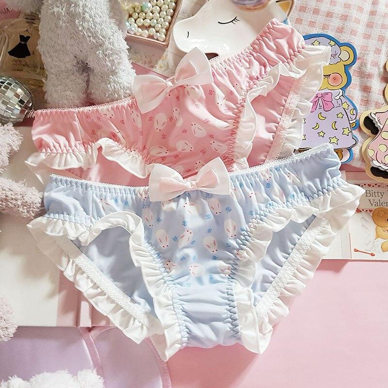 Soft Girl Cute Rabbit Printed Ruffles Panties Young Girl Cartoon Bow Kawaii Briefs Women Lolita Sexy Low Waist Underpants