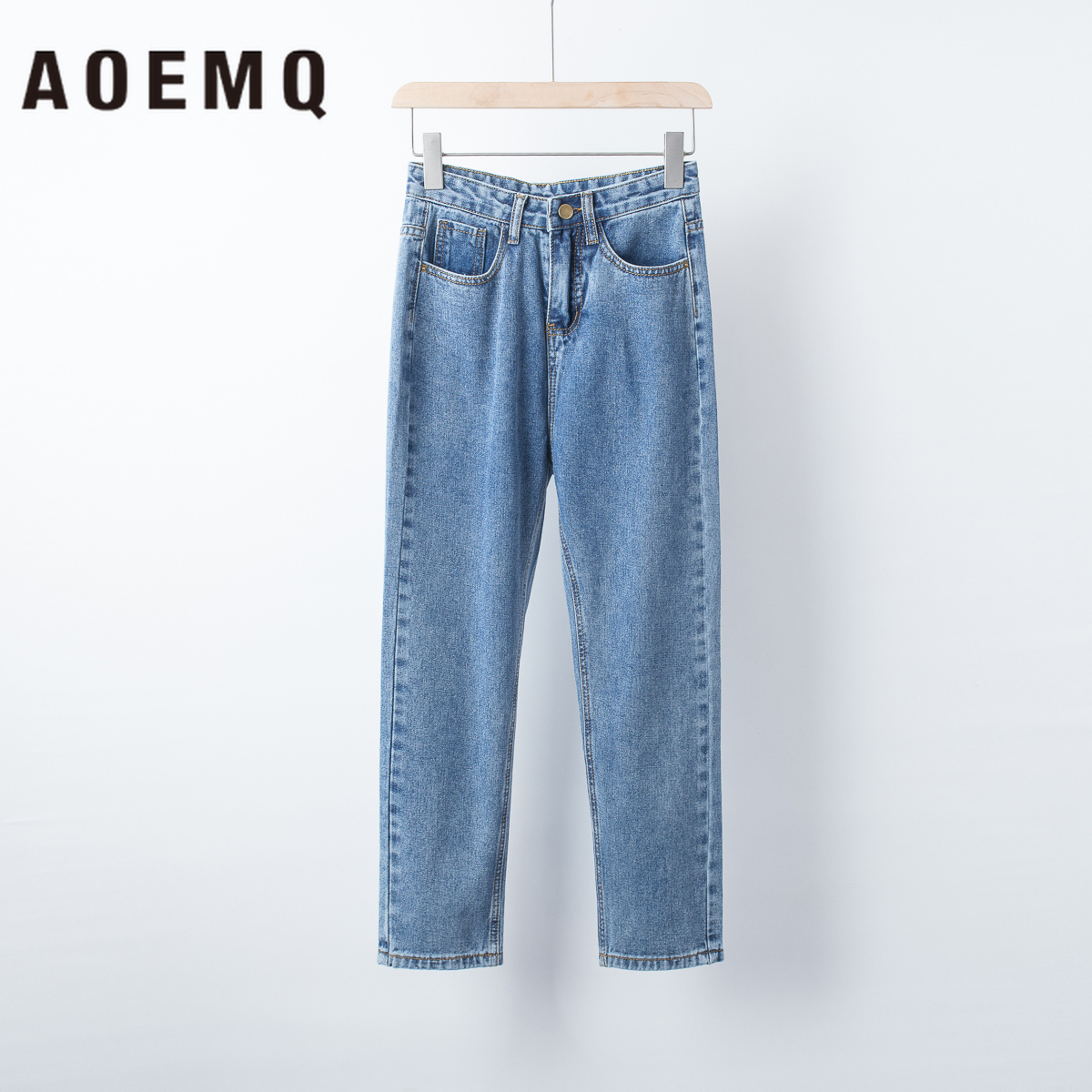 AOEMQ Deep Blue Trousers Girlfriend Appointment Loose   Pants   Plus Size Night Bar Party Wear   Wide     Legs     Pants   Women Clothing
