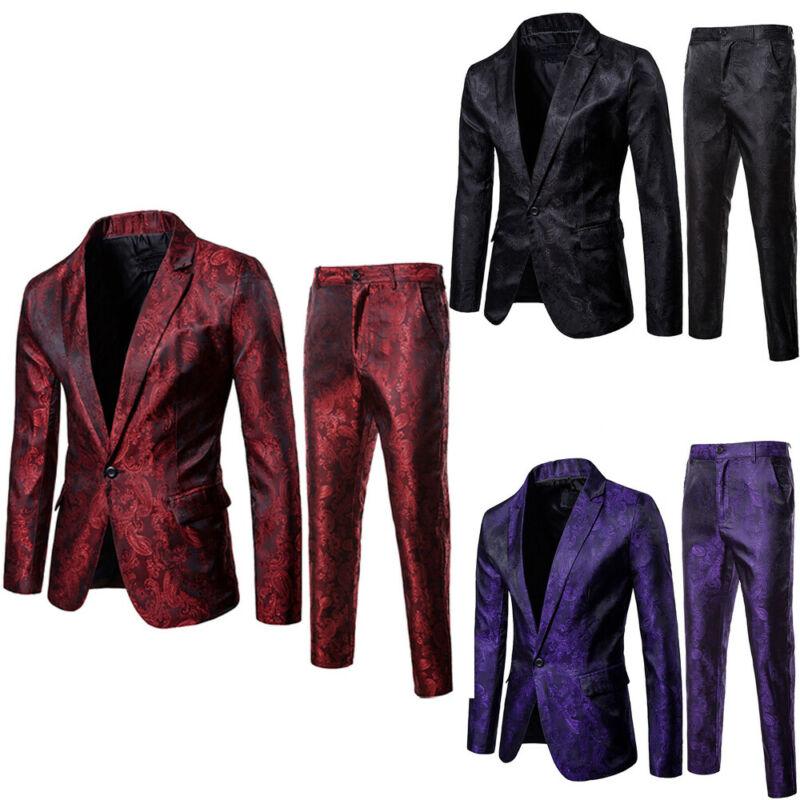2Pcs Mens Blazer Suit Slim Fit Tuxedo Coat + Pants Trousers Formal Evening Wedding Groom 2019 NEW