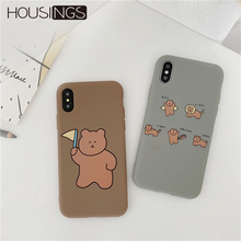 Cute Bear Phone Case For iPhone X XR XS Funny Silicone Cover 6s 7 8 Plus Cartoon Animal Back