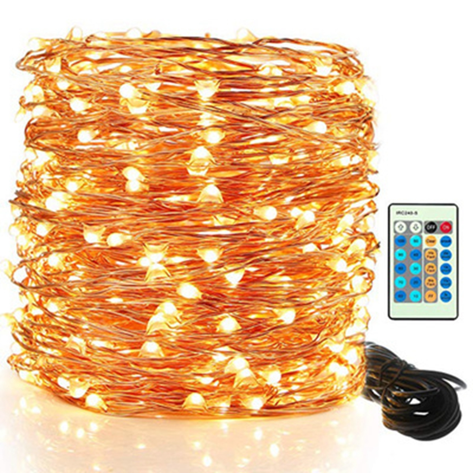 10M 20M 30M 50M100MLED String Lights Outdoor Christmas Fairy Light Copper Wire Warm White With DC 12V Power Adapter Remote contr