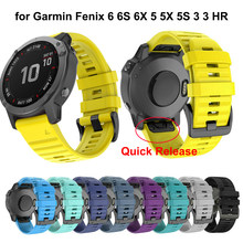 Correa de silicona para reloj deportivo Garmin Fenix 6X 6S 5X 5 5S 3 HR D2 S60 GPS, pulsera de silicona de liberación rápida y ajuste fácil, 26, 22 y 20mm