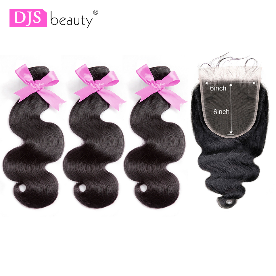 Brazilian Hair Weave 3 Bundles With Closure Double Weft Body Wave Remy Human Hair Bundles With Closure Soft Remy Hair