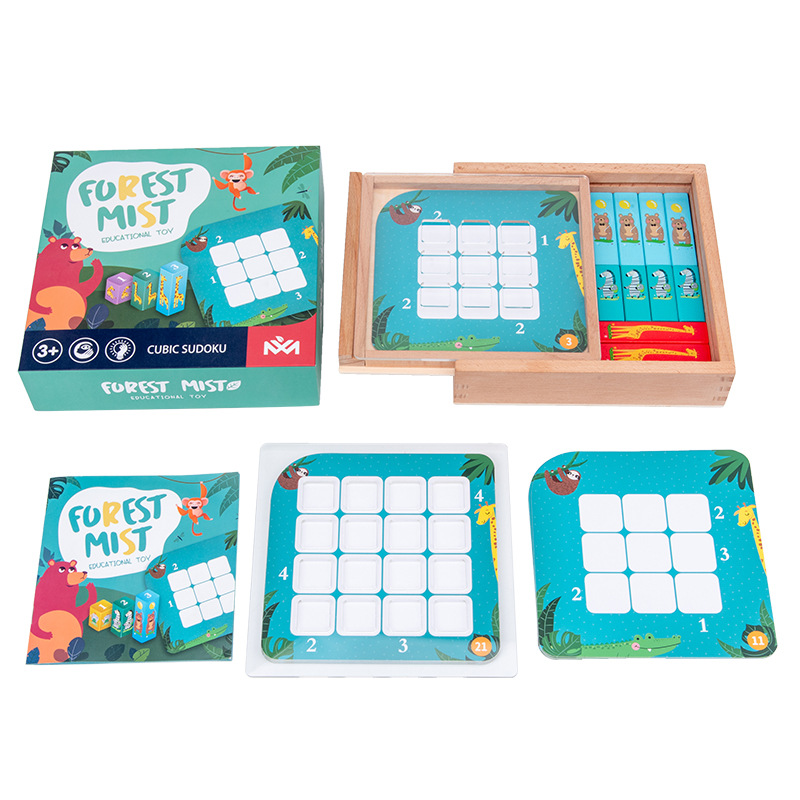 Wooden Sudoku Board Games Learning Educational Toys Forest Mist Logical Thinking Interactive for Baby Children