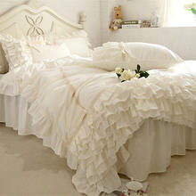 Luxury bed covers beige bedding set ruffle lace duvet covers European romantic bedding bed sheet bedspread home queen bed cover(China)