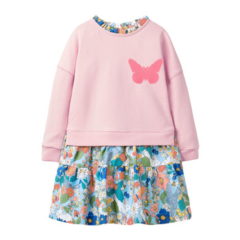 2-7Years Long-sleeved  Floral Cotton Dress for Baby Girl Dress for Kids Toddler  Clothes for Autumn and Spring Clothes Sequines