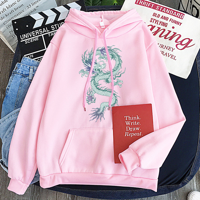Cool Dragon Plus Size Print Sweatshirts Women Oversized Tops Hoodies Female Pullovers Casual Hoody Harajuku Korean Style Clothes 3