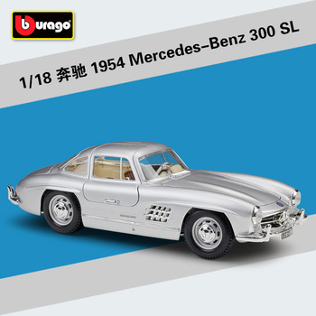 Bburago Diecast 1:18 1954 M B 300 SL Red Silver Sport Cars High Simulation Vehicle Alloy Model Car Model Adult Collection
