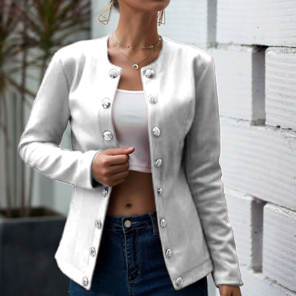 OEAK Women Casual Jacket Baseball Basic Round Collar Button Thin Bomber Jackets Fashion Long Sleeves Coat Women's Jacket Outwear