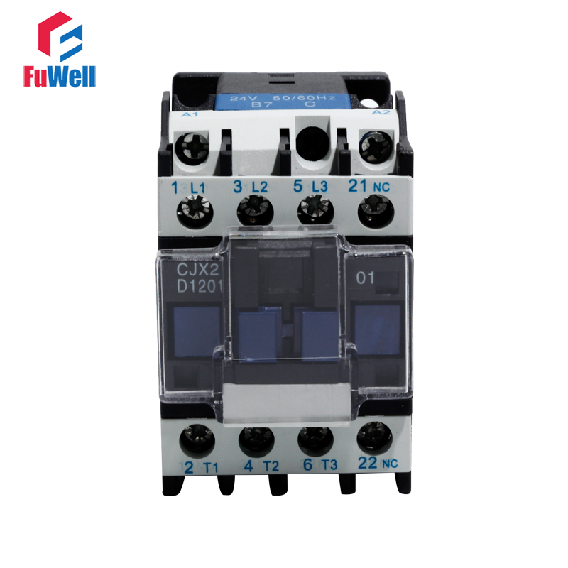 CJX2-1201 AC Contactor 24V 36V 48V 110V 220V 380V Coil Voltage Contactor NC Normal Closed 12A Alternating Current Contactor