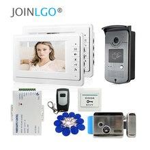 """السلكية 7 """"فيديو باب الهاتف نظام اتصال داخلي 1 / 2 / 3 الأبيض شاشات رفيد الوصول باب الجرس كاميرا قفل كهربائي شحن مجاني"""
