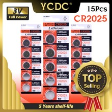 Lot de 15 batteries Li-ion de remplacement, 3 V, pour télécommande, jouets, calculatrice, CR2025, CR 2025, BR2025, DL2025
