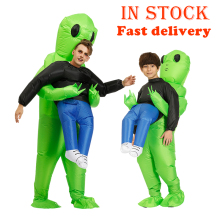 Alien Costume Suit Purim Scary Monster Cosplay Mascot Inflatable Party Adult Green Kids