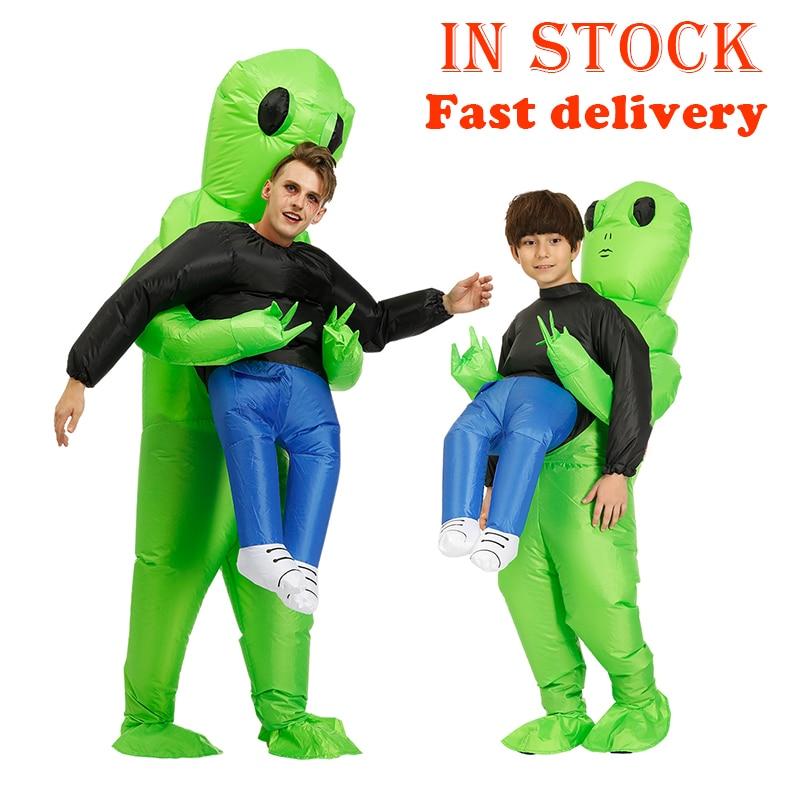 Novo purim assustador verde inflável alienígena traje cosplay mascote monstro inflável terno festa de halloween traje para crianças adulto