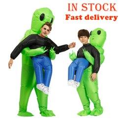 Nuevo disfraz de extraterrestre inflable verde tenebroso Purim Cosplay mascota traje de monstruo inflable fiesta de Halloween disfraz para niños adultos