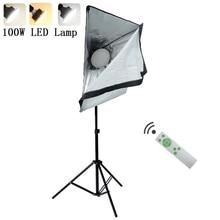 写真連続照明キット220v 100ワットled補助ランプ照明ソフトボックスライトスタンド三脚フォトスタジオアクセサリー