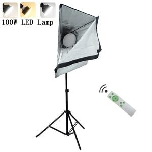 Image 1 - 写真連続照明キット220v 100ワットled補助ランプ照明ソフトボックスライトスタンド三脚フォトスタジオアクセサリー
