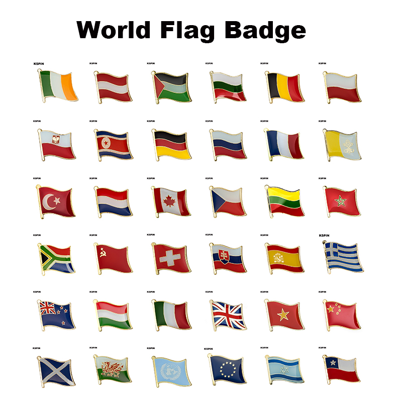 National Flag Pin Flag Metal Lapel Pin Badge WALES SCOTLAND Chile Vietnam Israel New Zealand Switzerland Morocco Lithuania Pales(China)