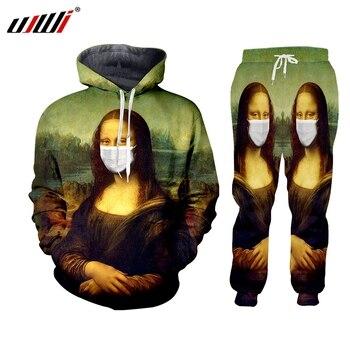 UJWI Brand 2 Pieces Set Tracksuit Men New Autumn Winter Hooded Sweatshirt + Drawstring Pants Paint creative masks