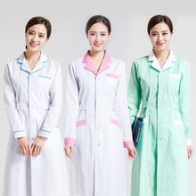 New Arrival Summer Hospital Doctor's Uniforms Lady Long Sleeve Medical Clothes Beauty Salon V-neck White Lab Coat Nurse Uniform