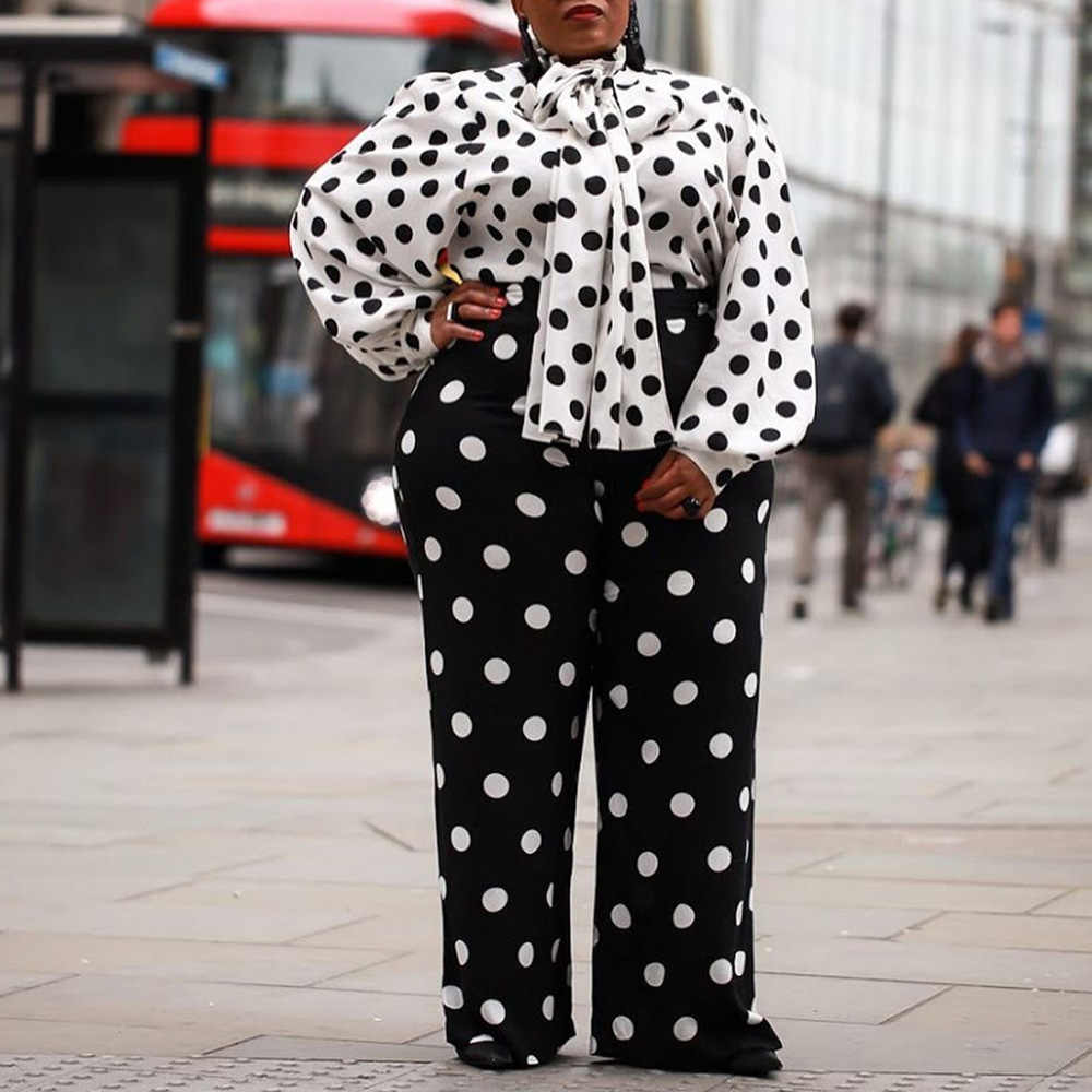 פולקה נקודות שתי חתיכה סטי משרד גבירותיי אלגנטי שחור ולבן חולצות ורחב רגליים מכנסיים ארוכים בתוספת גודל נשים סטי חליפות 2PS