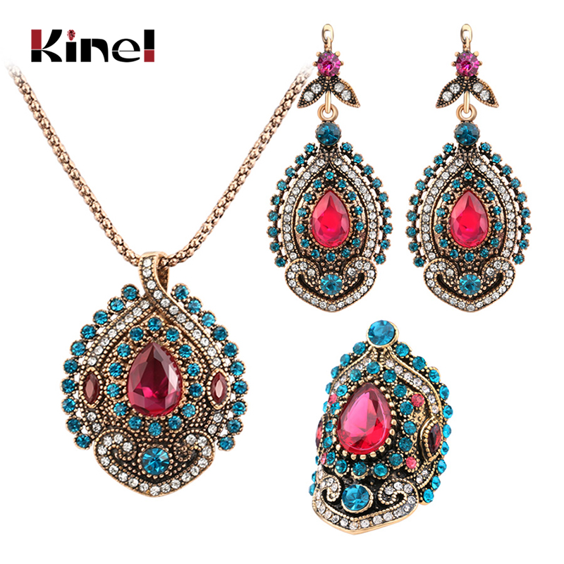 Kinel 3Pcs Vintage Jewelry Sets For Women Antique Gold Pink Crystal Wedding Party Earrings Necklace Ring Female Turkish Jewelry