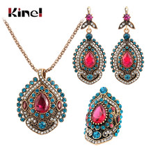 Kinel 3Pcs Vintage Jewelry Sets For Women Antique Gold Pink Crystal Wedding Party Earrings Necklace Ring Female Turkish Jewelry(China)