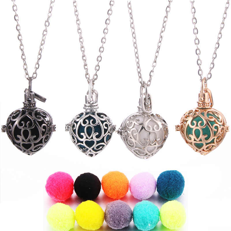 Mexico Chime Heart Music Angel Ball Caller Perfume Locket Pendant Vintage Necklace For Aromatherapy Essential Oil Box Women