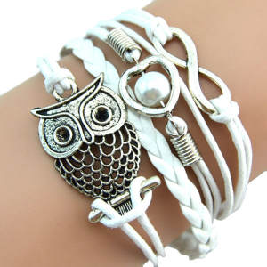 Elegant Bracelet Pearl Jewelry Charm Leather Gift Multilayer Infinity-Owl 10--Woman