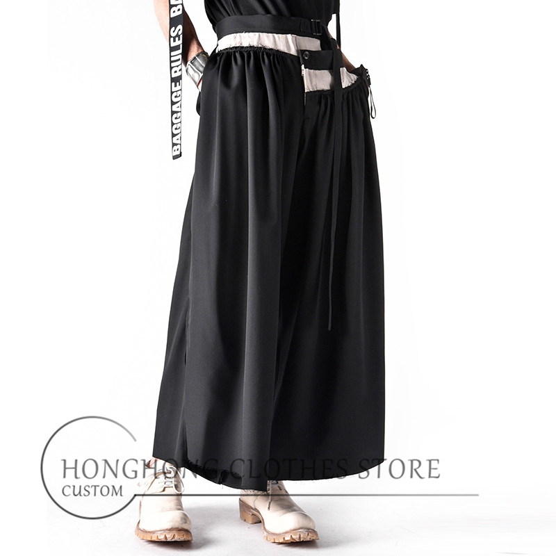 Men's fur-lined wide-leg trousers - culottes - new super-wide size loose black bell-bottom trousers  27-44!
