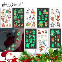 Яркие 1 лист светящиеся Детские Временные татуировки стикеры Поддельные Рождество флэш Водонепроницаемый Мода маленький боди-арт для детей