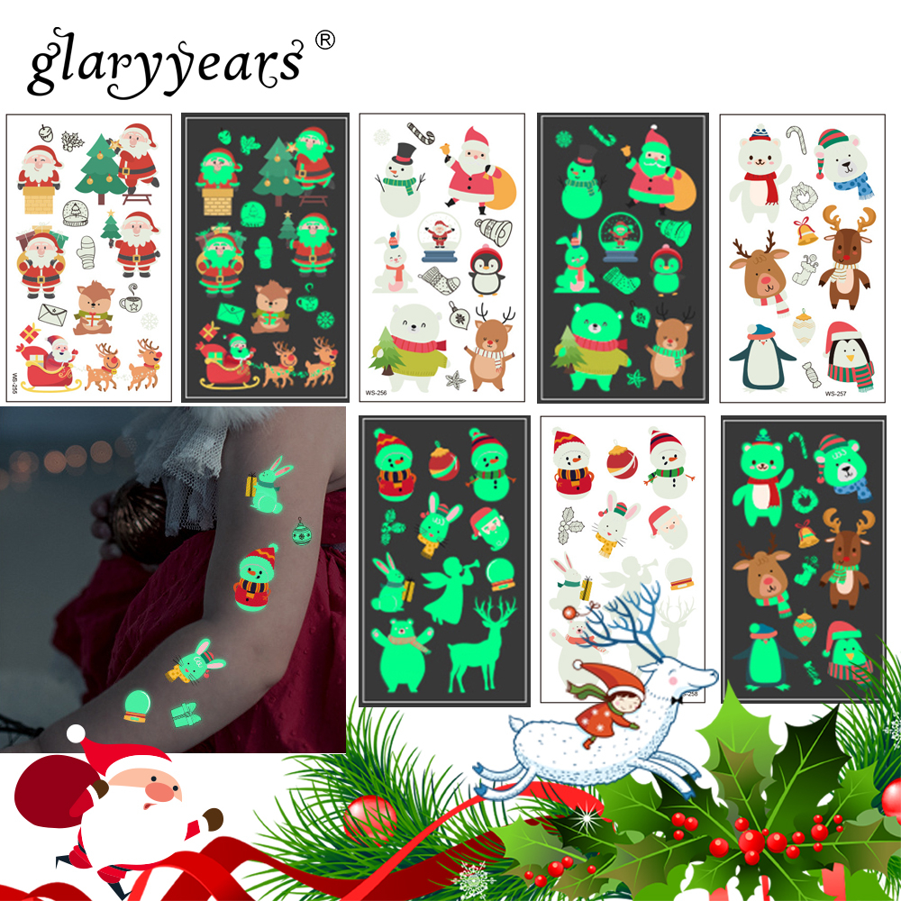 Glaryyears 1 Sheet Luminous Kids Temporary Tattoo Sticker  Fake Christmas Flash Waterproof  Fashion Small Body Art For Child