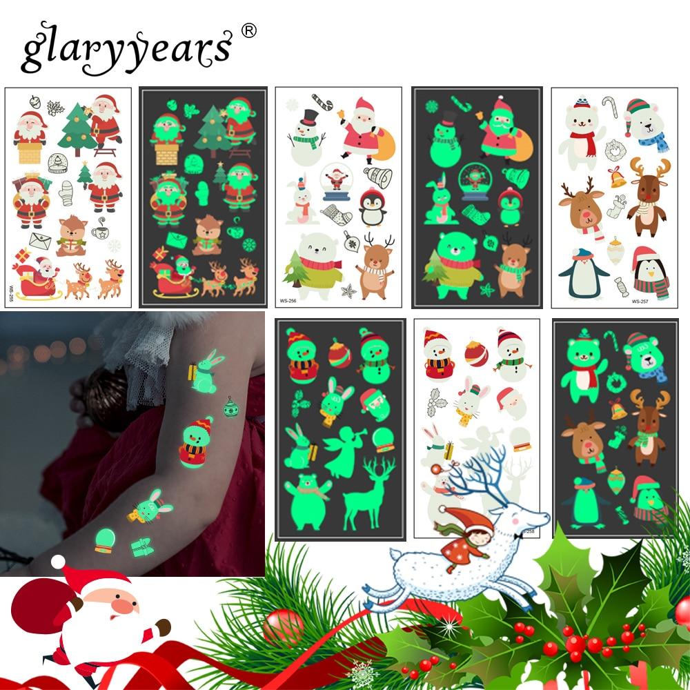 Glaryyears 1 Sheet Luminous Kids Temporary Tattoo Sticker  Fake Christmas Flash Waterproof  Fashion Small Body Art For Child