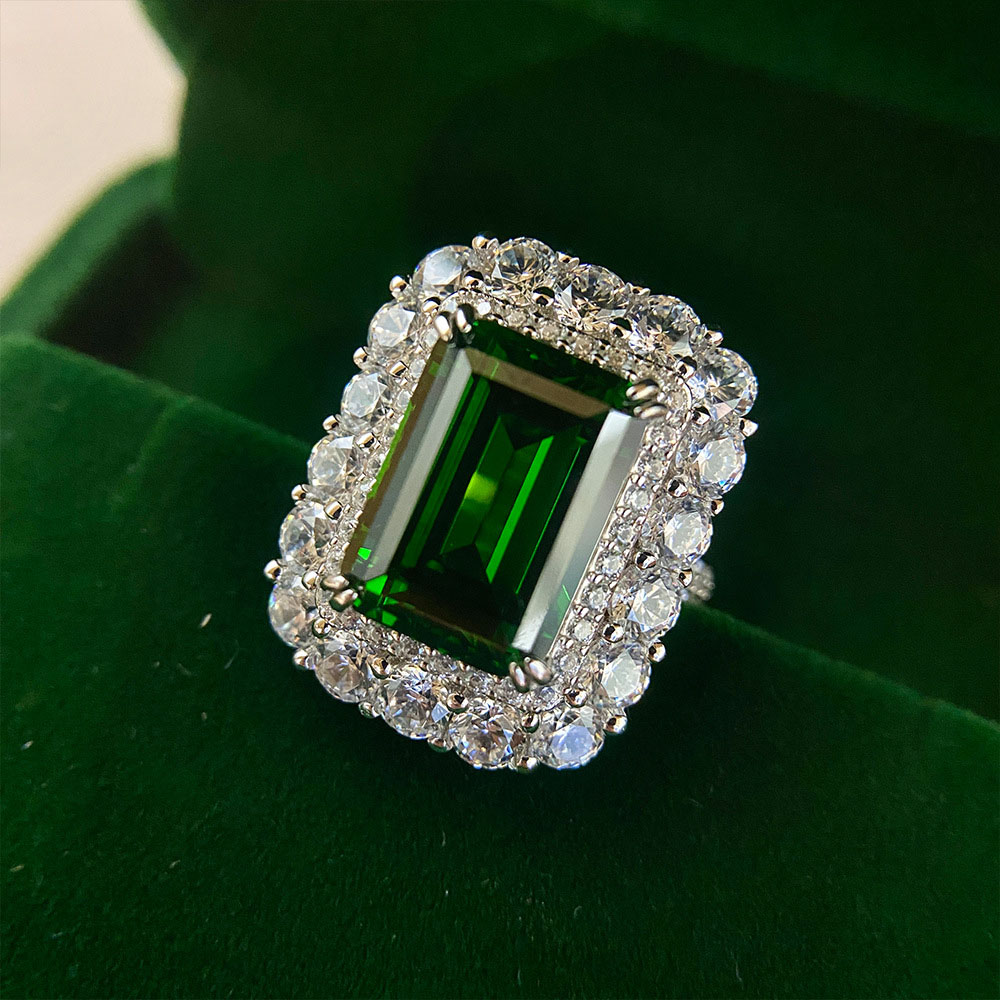 2021 Trend Sterling Silver 925 Rings 10*14 Emerald Cerated Moissanite Lab Diamond Wedding Bands for Women Fine Jewelry Wholesale