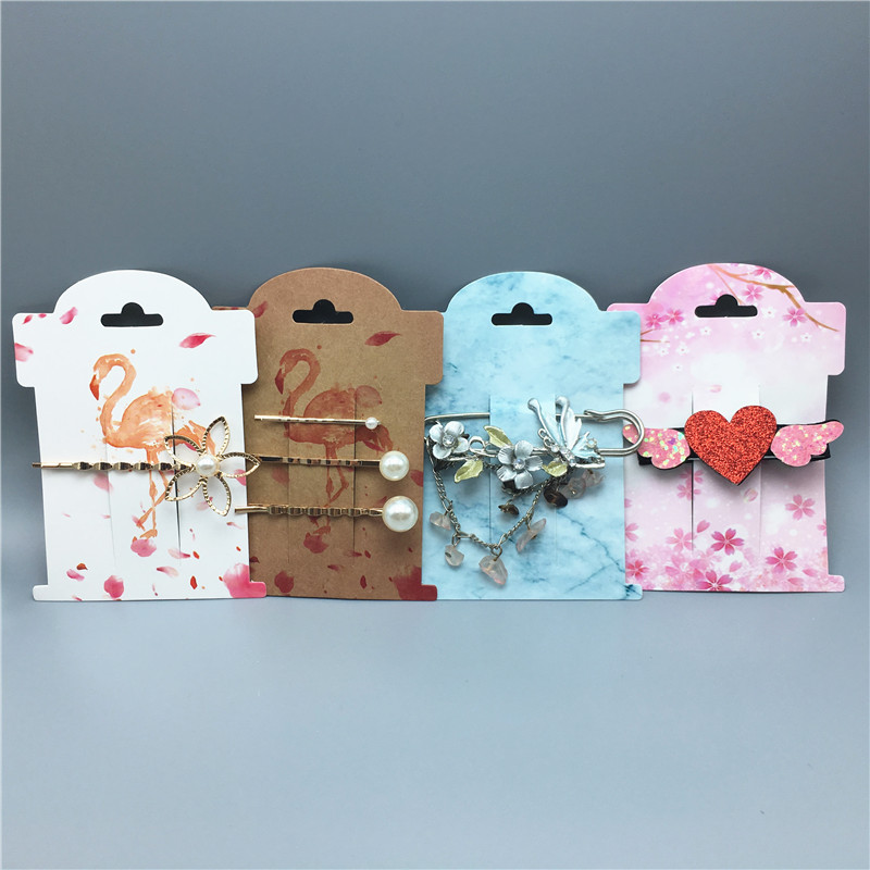 Various Styles Design 50pcs 11x8cm Hairpin DIY Handmade Jewelry Display Card With OPP Packing Bags Fashion Hair Clip Card