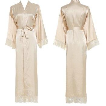Women Sexy Gray Large Plain Bride Kimono Satin Silk Lace Robe Sleepwear Dress Gown Wedding Bathrobe Ladies Long Gowns New