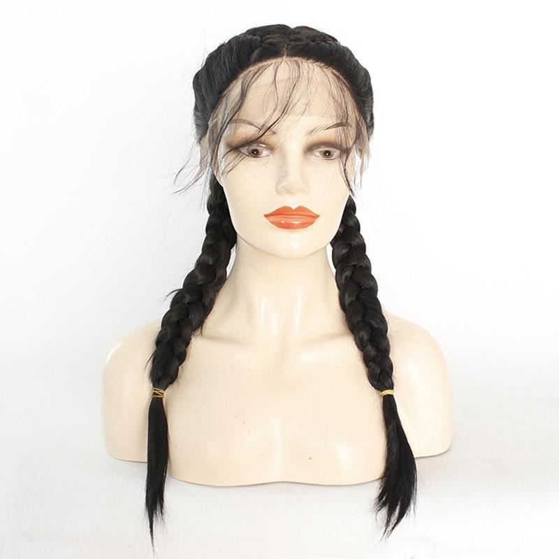 Double tresses synthétique tressé dentelle avant perruque couleur noire 2x torsion tresses perruques avec des cheveux de bébé résistant à la chaleur perruques pour les femmes