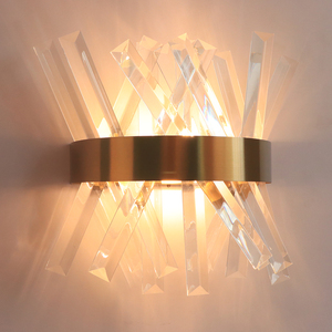 Image 3 - Crystal wall light fixture bedroom beside gold wall lamps AC 90 260V bathroom led wall sconce