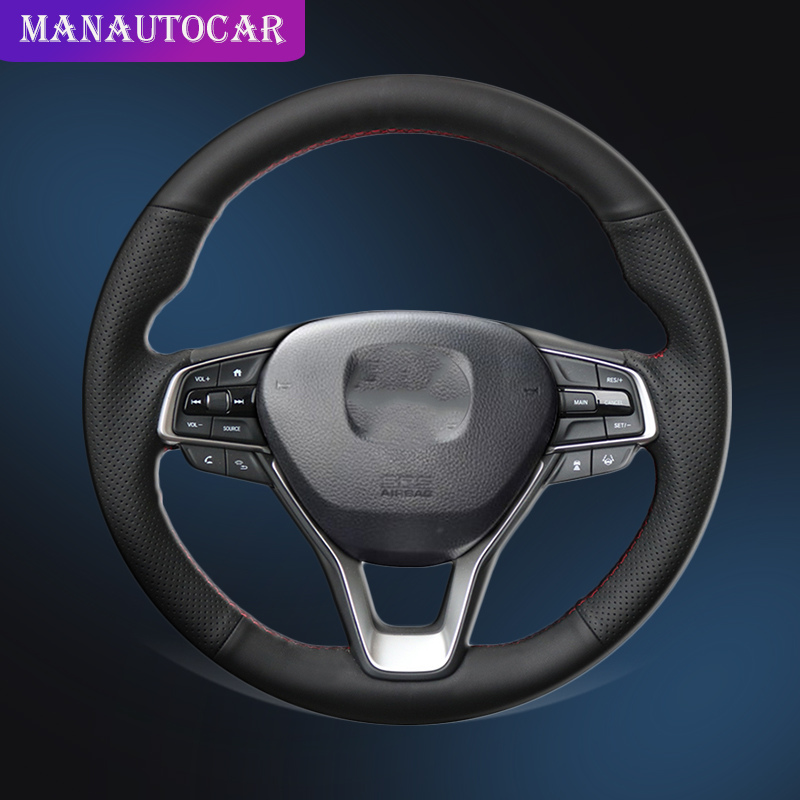 Auto Braid On The Steering Wheel Cover for Honda Accord <font><b>10</b></font> <font><b>2018</b></font> 2019 Insight 2019 Hand Stitched Car Braiding Covers Car-styling image