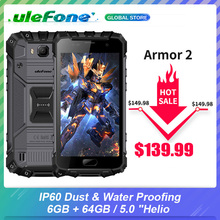 "Ulefone Armor 2 IP68 Waterproof Smartphone 6GB+64GB 5.0"" Helio P25 Octa Core NFC 4700mAh 4G 16.0MP Mobile Phone"