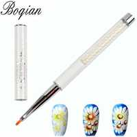 BQAN Petal Nail Brush Pearl Acrylic Nail Art Liner Brush French Lines Stripes Grid Flower Painting Drawing PenManicure Tools