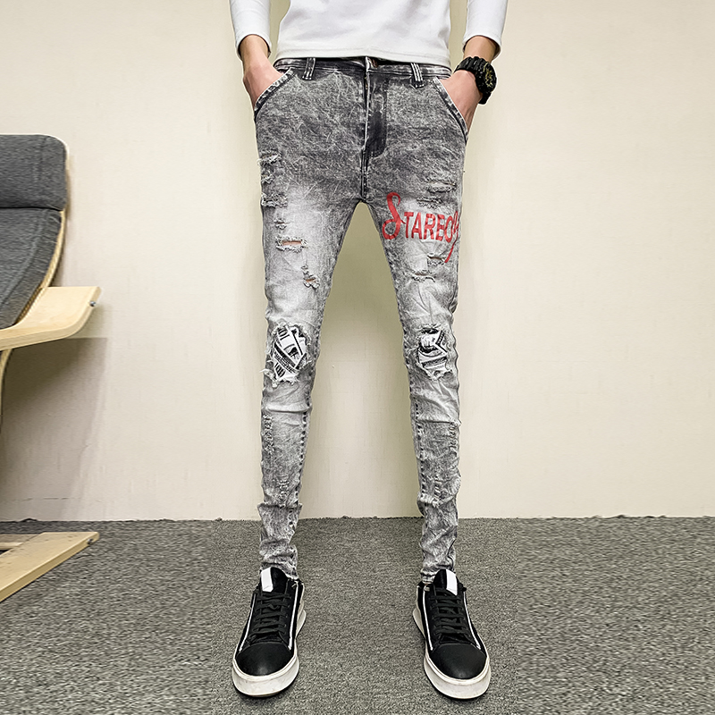 Quality Men Skinny Jeans Fashion 2020 Spring Summer Denim Pants Men Slim Fit Streetwear Full Length Ripped Jeans Men Trousers 34