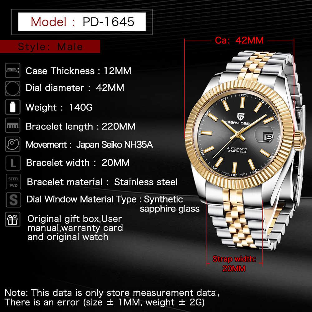 PAGANI DESIGN Luxury Men นาฬิกาสแตนเลสกันน้ำนาฬิกาแฟชั่นกีฬานาฬิกาผู้ชายอัตโนมัตินาฬิกา relogio