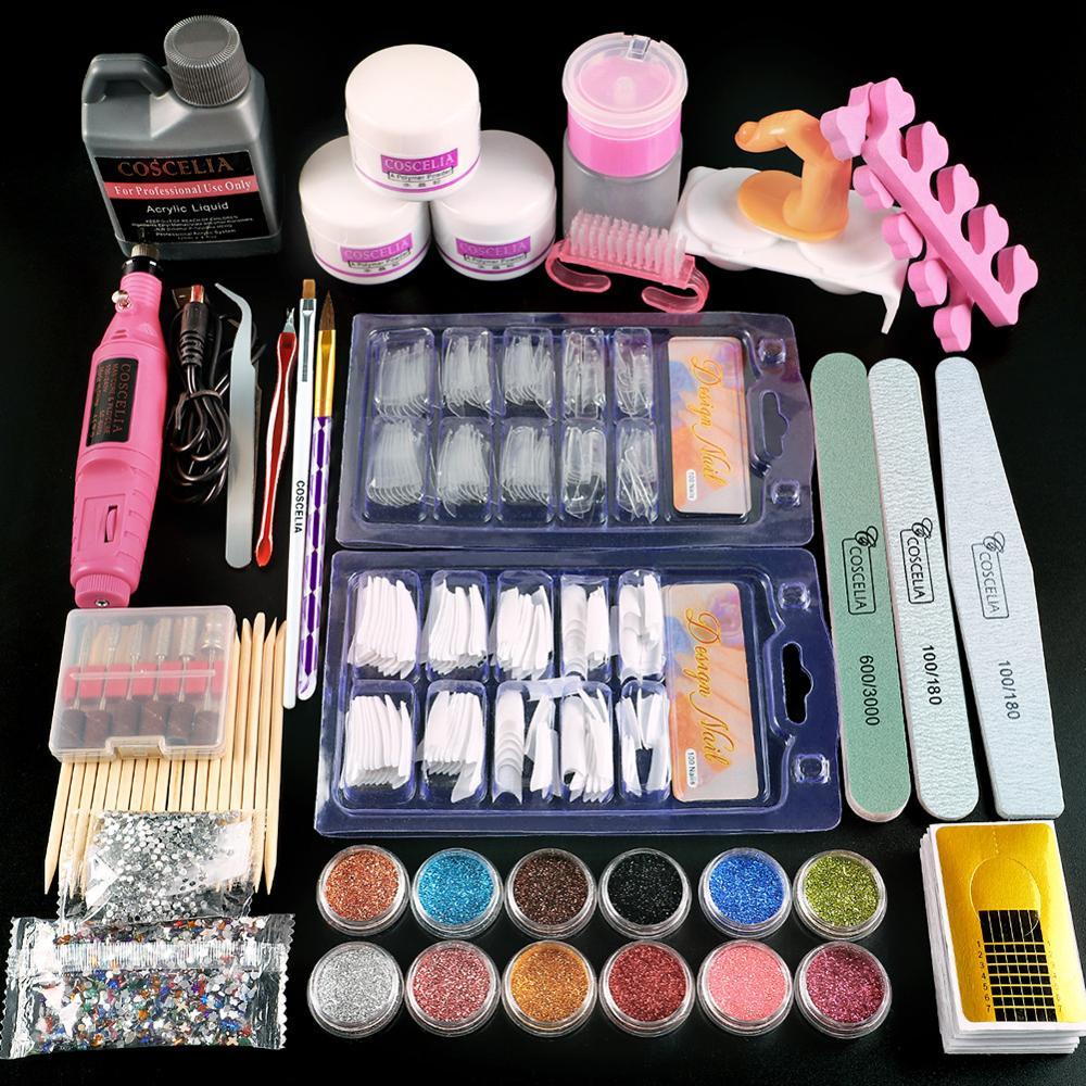 COSCELIA Acrylic Powder Manicure Set Nail Art Tool Kit Acrylic Liquid Nail Glitter Powder Nail Tips With Nail Drill Machine